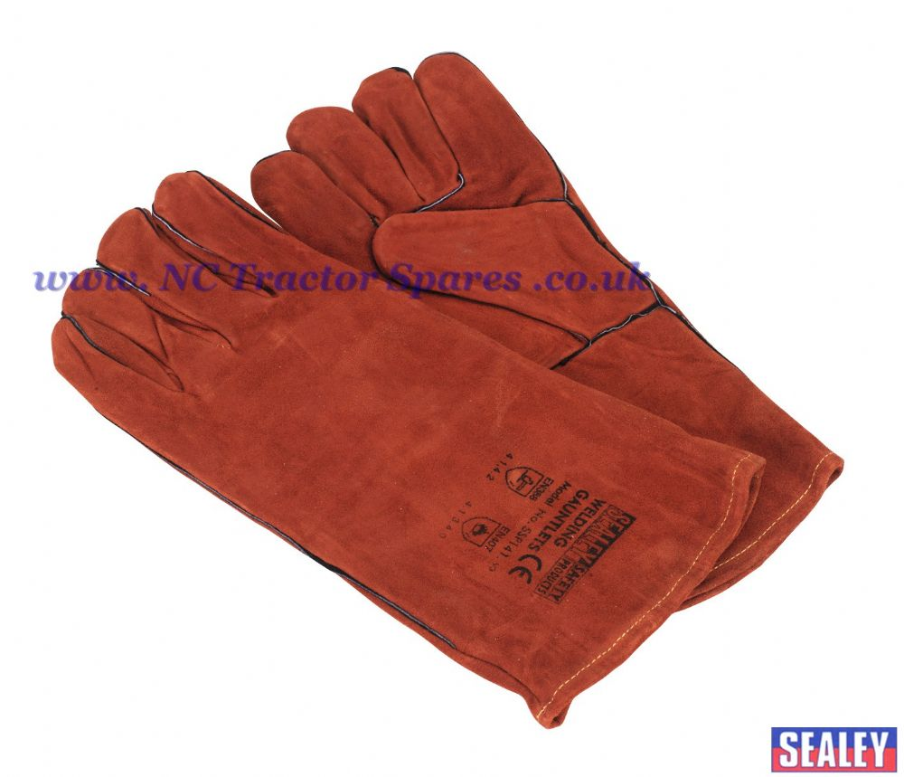 Leather Welding Gauntlets Lined Pair